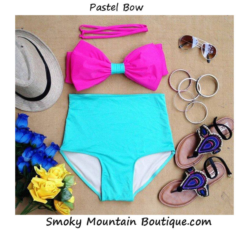 Pastel bow high waist swimsuit