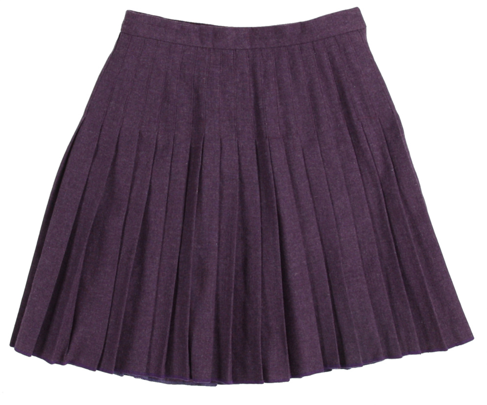 Rokit Recycled Purple Pleated Wool Mini Skirt | Clothing | Rokit Vintage Clothing