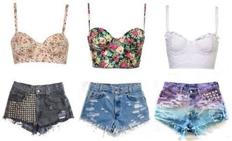 tank top shorts top floral bustier crop