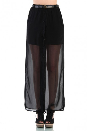LoveMelrose.com From Harry & Molly | Bodycon Skirt with Split Side Maxi Layer - Black