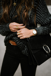 bag,tumblr,black bag,gucci,gucci bag,dionysus,designer bag,sweater,chunky knit,grey sweater,ring,gold ring,jewels,jewelry,gold jewelry,belt,gold watch,watch,jeans,black jeans