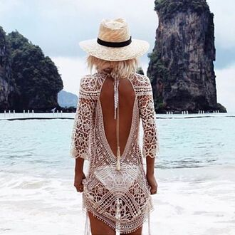 swimwear le salty label cover up knit knit dress open back lace white coverup white dress white lace see through slip crochet knitted dress crochet dress white crochet dress