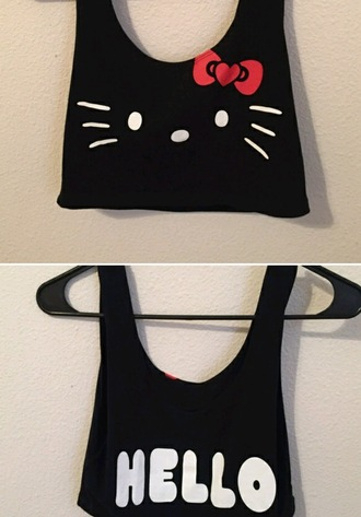 top hello kitty crop tops tanks black girly summer