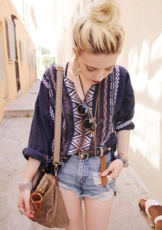 blouse aztec cuff buttons shirt loose hippie boho hippie glasses high waisted shorts high waisted belt tumblr outfit satchel bag