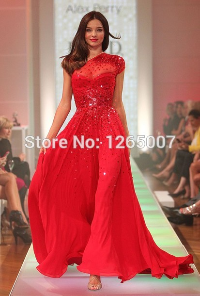 Aliexpress.com : Buy Miranda Kerr de um ombro manga curta Sparkly Red lantejoulas brilhantes A Line Chiffon Vestidos celebridade New Fashion 2014 from Reliable vestido de camisa de manga suppliers on SFBridal