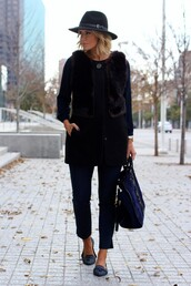 the courtney kerr,blogger,hat,faux fur vest,loafers,black bag,jacket,top,pants,shoes,bag,jewels
