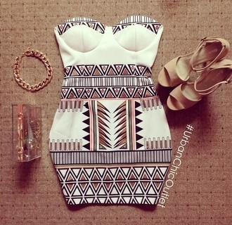 dress mini dress aztec shoes aztec dress white dress strapless dress