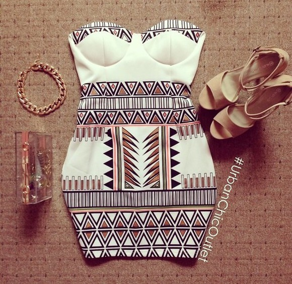 white dress bustier dress aztec dress dress mini dress aztec shoes