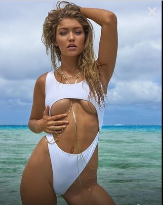 swimwear gigi hadid one piece swimsuit white sexy white swimwear cut-out swimwear high cut one piece