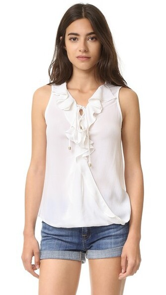 blouse ruffle lace white top
