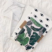 home accessory,palm tree print,notebook,pencils,marble,stationary,lauren elizabeth,school supplies
