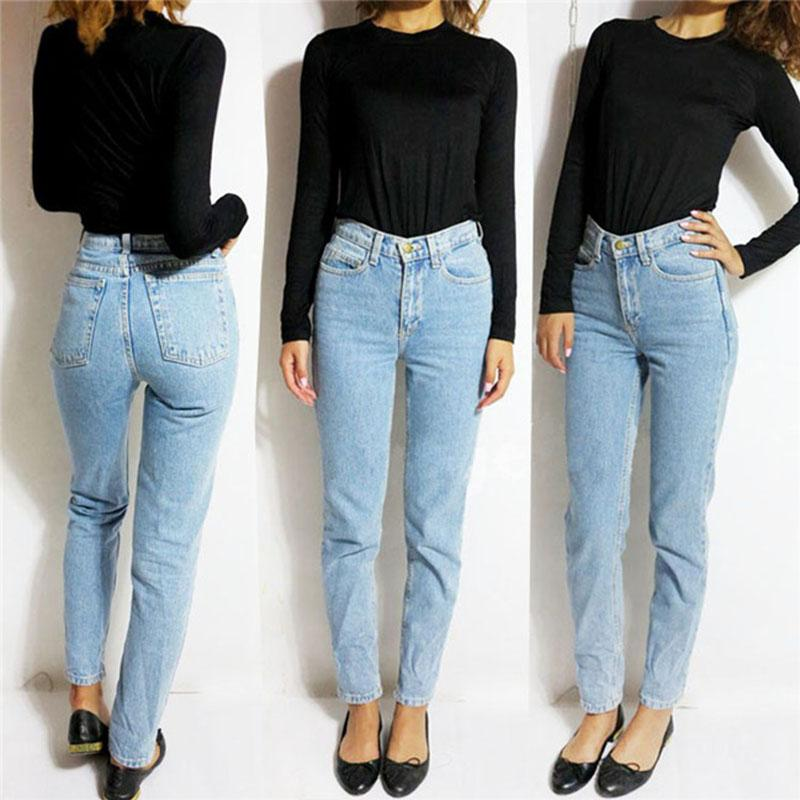 6b316e5288c 2017 Vintage High Waist Jeans Women Denim Pants 2016 New Slim Pencil Pants  Capris Trousers Fits ...