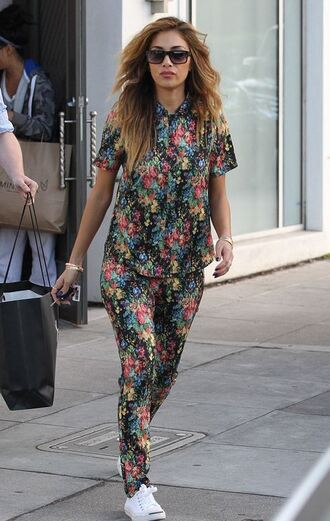 pants two-piece colorful sneakers nicole scherzinger print printed pants