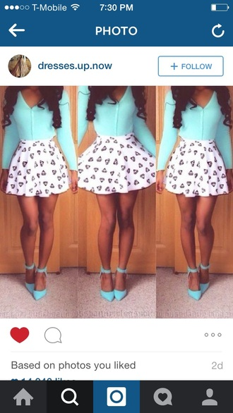 skirt blue white black style boho girly neon cute sexy girl summer dress shoes blouse