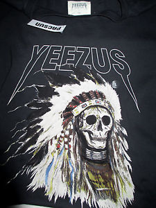 KANYE WEST YEEZY YEEZUS TOUR INDIAN CHIEF SKULL CONCERT T TEE S-XL SHIRT PYREX
