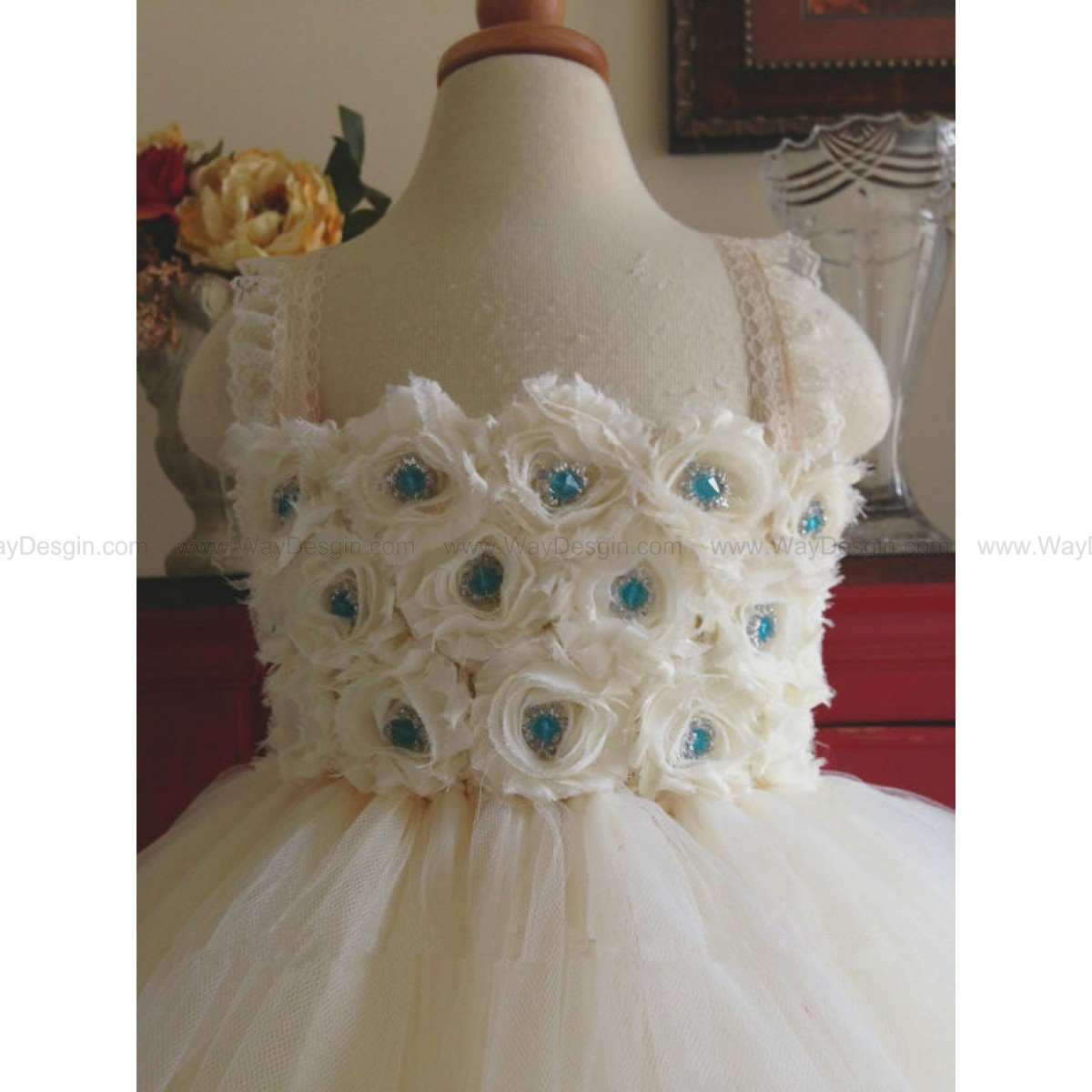 Flower girl dress tutu dress ivory, ivory, turquoise chiffton roses, baby tutu dress, toddler tutu dress