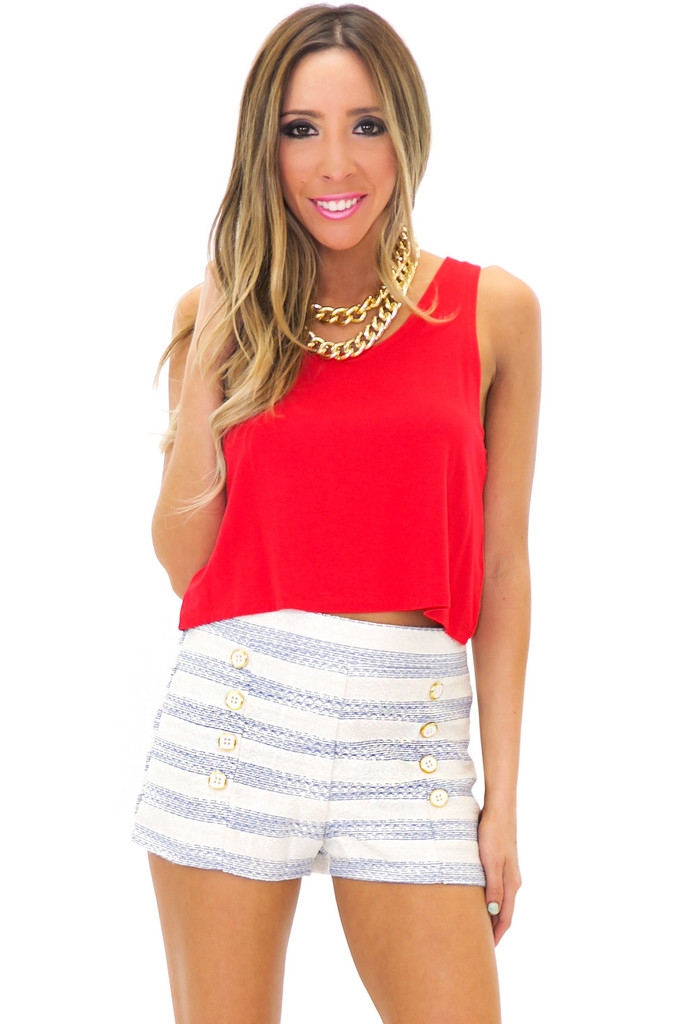 RENVIN STRIPED SHORTS - Blue | Haute & Rebellious