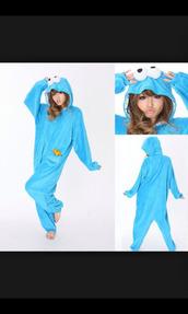 sweater,onesie,onsie cookie monster,fashion,style,pajamas