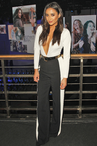 top plunge v neck shay mitchell pants bodysuit black and white