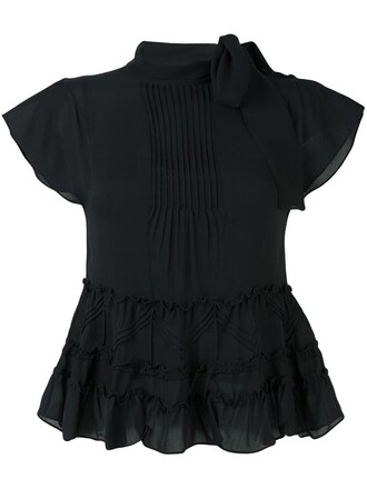 blouse ruffle black top