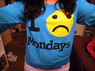 shirt monday clothes blue sad face sweater cool hate cute yellow smiley frown pretty