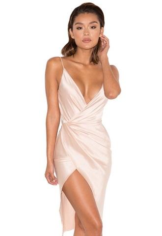 dress champagne dress wrap dress silk dress plunge v neck