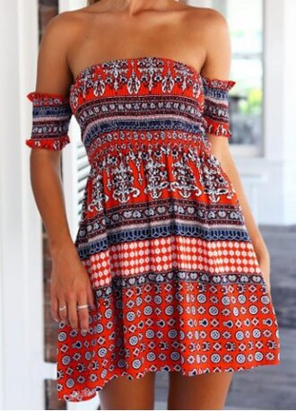 dress boho summer gypsy cute girly short dress pretty red blue fashion style strapless print bohemian