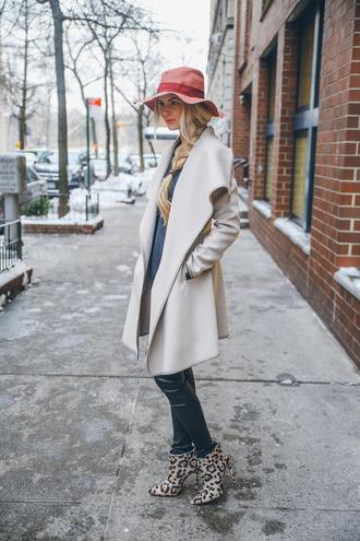 barefoot blonde blogger floppy hat leopard print high heels winter coat coat top hat pants shoes make-up