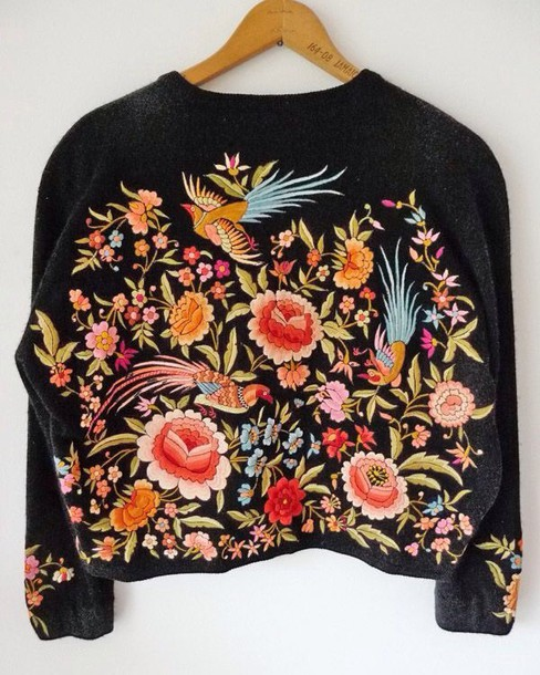 sweater colorful oversized sweater floral flowers cropped sweater long sleeves embroidered