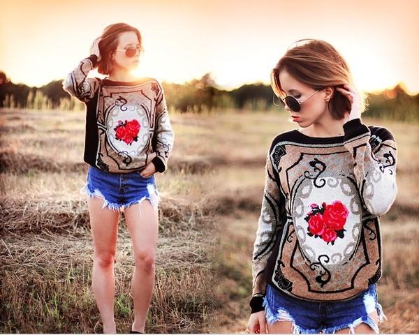 sweater romwe jumper retro rose coffee romwe jumper