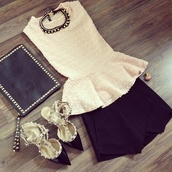 jewels,peplum top,skirt,black and white,studs,necklace,shirt