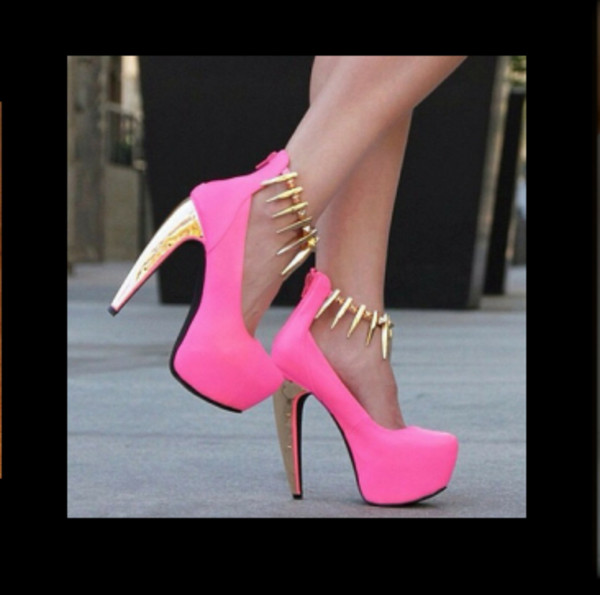 shoes pink pink and gold pink high heels high heels spikes
