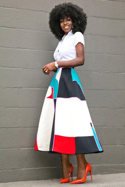 blogger shirt skirt shoes