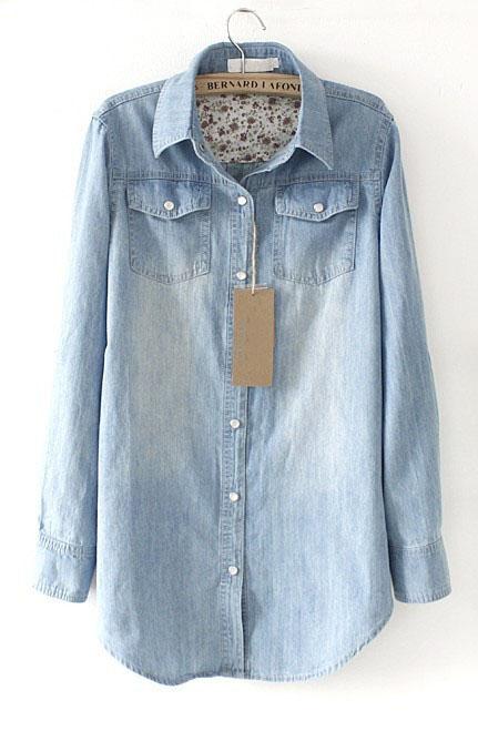 Light Blue Lapel Long Sleeve Pearls Denim Shirt - Sheinside.com