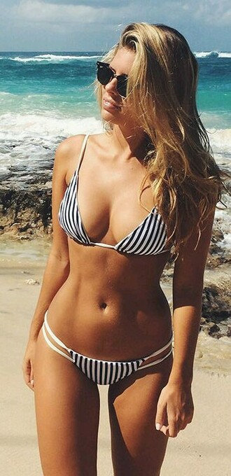 swimwear summer bikini bikini top bikini bottoms natasha oakley beach stripes black white sexy fashion instagram pinterest girly trendy girl zaful beyonce style cleavage girly wishlist two-piece swimwear two piece rose wholesale-ma