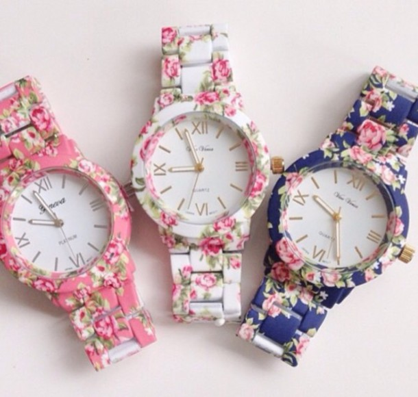 jewels floral watch floral pink white blue flowers watch
