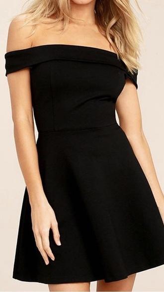 dress black dress black off the shoulder black skater dress classy formal party dress night dress