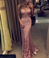 dress,strapless,pink,sweetheart neckline,lace,evening dress