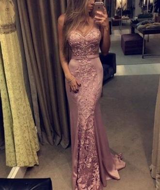 dress strapless pink sweetheart neckline lace evening dress