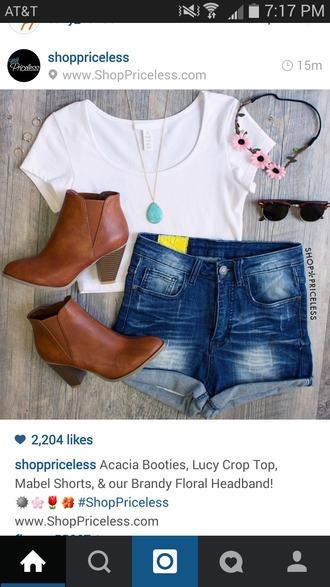 shorts denim shorts brown boots white crop tops flower crown shirt hair accessory