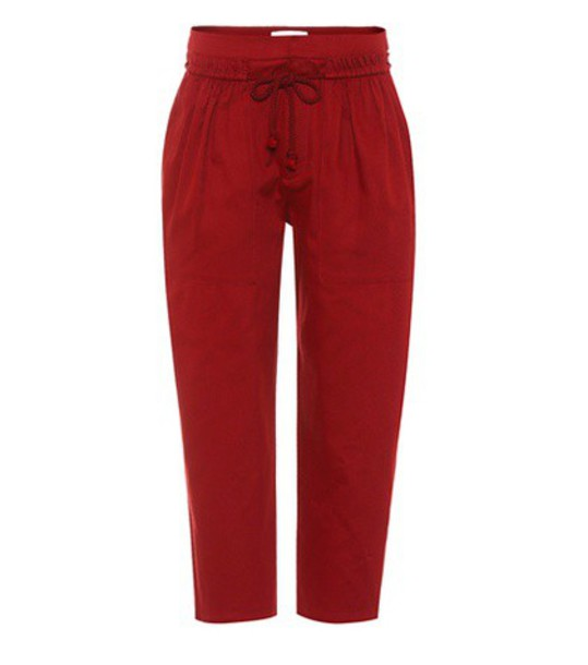 See By Chloé Cotton twill cropped trousers in red