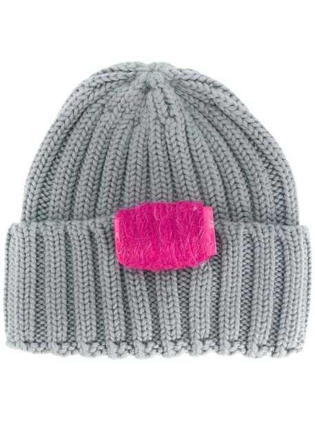 Ultràchic women beanie knitted beanie wool grey hat