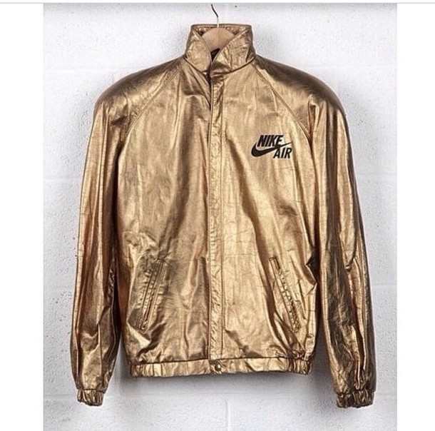 Jacket: nike, gold, black, shiny, sweater, winter outfits, rain ...