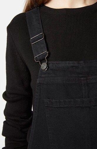 jumpsuit black overalls black sweater denim overalls overalls all black everything