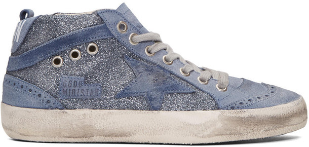 Golden goose glitter sneakers blue shoes