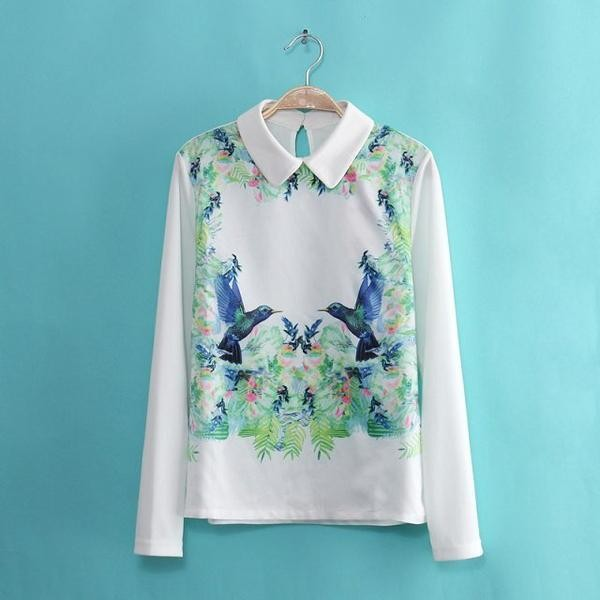 blouse long-sleeve bird print blouse jvl long-sleeve bird print birds