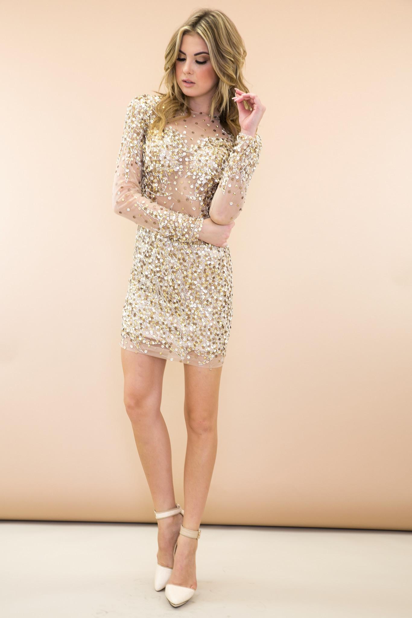 & Sequin Evening Body-con Dress - Gold   Haute & Rebellious