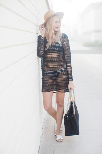 modern ensemble blogger swimwear shoes hat beach dress black ba flats