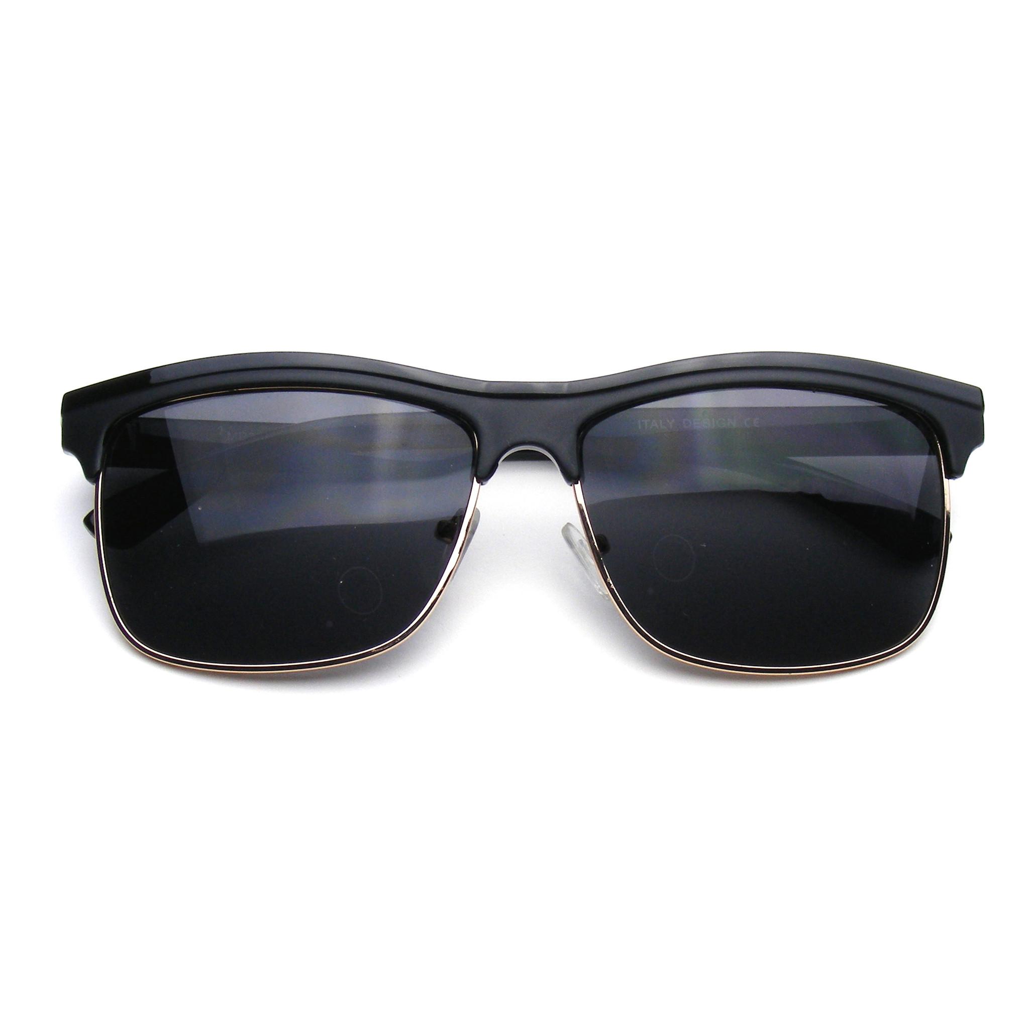 Retro clubmaster inspired modern dapper square half frame sunglasses