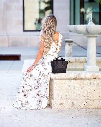 dress tumblr maxi dress long dress white long dress floral floral dress bag black bag open back open back dresses sleeveless sleeveless dress